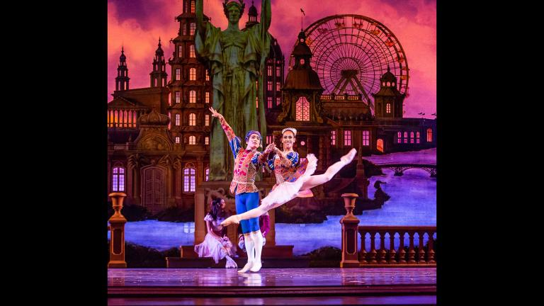 "Yoshihisa Arai and Amanda Assucena of the Joffrey Ballet perform Christopher Wheeldon's Chicago-themed reinvention of ""The Nutcracker."" (Photo by Cheryl Mann)"