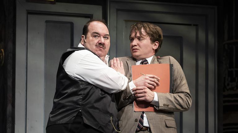 "Blake Hammond, left, and Jake Morrissy in ""The Producers"" at Paramount Theatre. (Photo credit: Liz Lauren)"