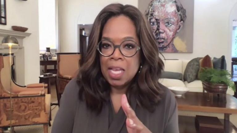 In a photo provided by The Call to Unite, Oprah Winfrey speaks during the 24-hour live event, which was transmitted Friday, May 1, 2020. (The Call to Unite via AP)