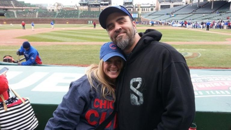 Mattefs and wife Amy at Wrigley Field, opening weekend 2014.