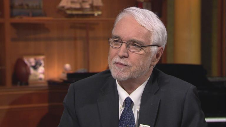 "University of Illinois President Tim Killeen appears on ""Chicago Tonight"" on Jan. 22, 2020. (WTTW News)"