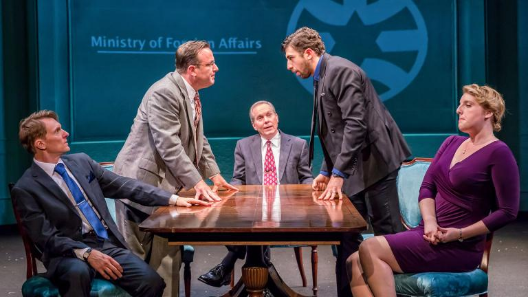 "From left: Scott Parkinson, Stef Tovar, David Parkes, Jed Feder and Bri Sudia in TimeLine Theatre Company's ""Oslo."" (Photo by Brett Beiner Photography)"