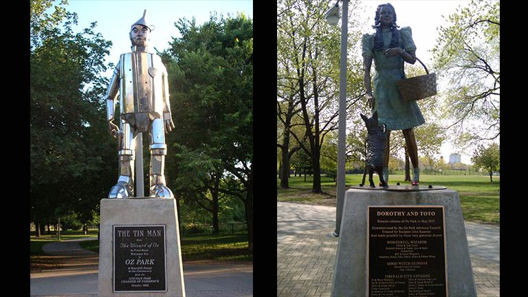 Statues in Oz Park of the Tin Man (Richie Diesterheft / Flickr) and Dorothy and Toto (Ingrid Richter / Flickr).