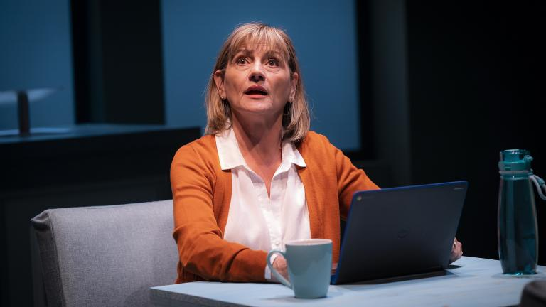 "Janet Ulrich Brooks in the Chicago premiere of ""Tiny Beautiful Things"" at Victory Gardens Theater. (Photo by Liz Lauren)"