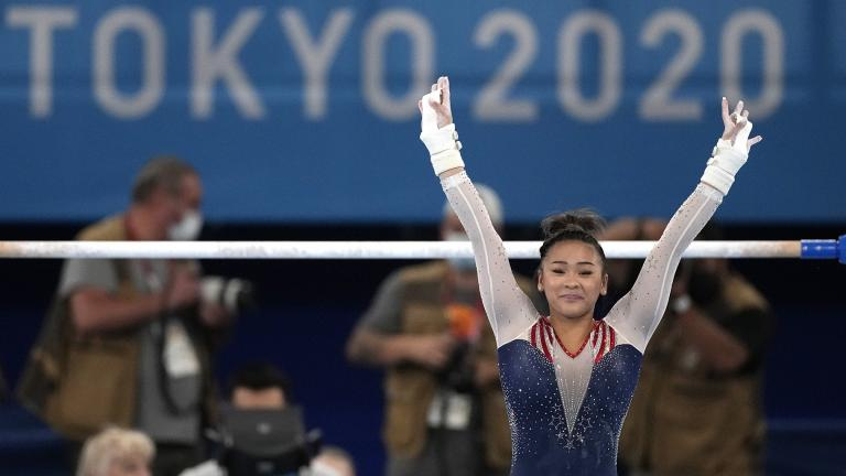 Sunisa Lee, of the United States, finishes on the uneven bars during the artistic gymnastics women's all-around final at the 2020 Summer Olympics, Thursday, July 29, 2021, in Tokyo. (AP Photo / Ashley Landis)