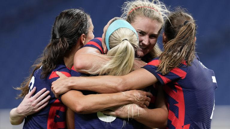 United States' Lindsey Horan, second from right, celebrates after scoring a goal during a women's soccer match against New Zealand at the 2020 Summer Olympics, Saturday, July 24, 2021, in Saitama, Japan. (AP Photo / Martin Mejia)