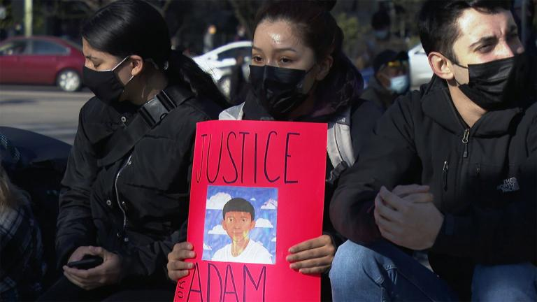 The community came out to protest, to march, and to mourn in memory of Adam Toledo. (WTTW News)