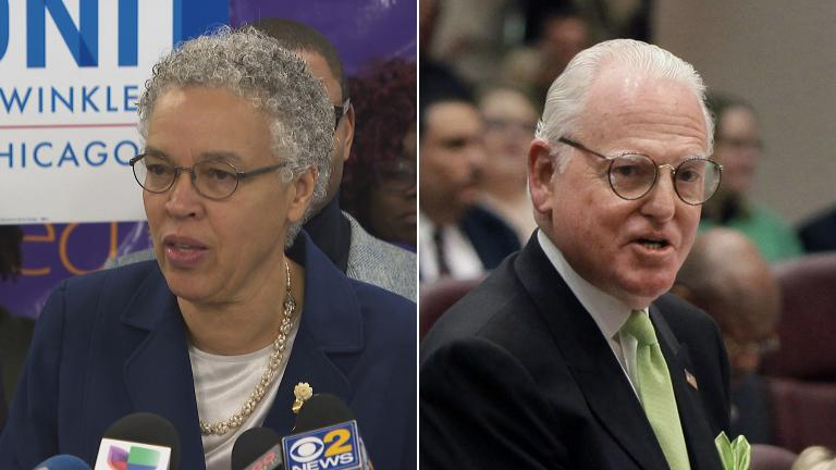 Cook County Board President Toni Preckwinkle (Chicago Tonight file photo) and Ald. Ed Burke (AP Photo / M. Spencer Green, File)