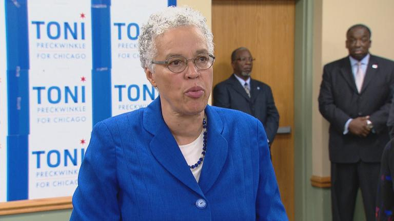 Cook County Board President Toni Preckwinkle takes questions from the media after announcing her mayoral campaign on Thursday, Sept. 20, 2019. (Chicago Tonight)