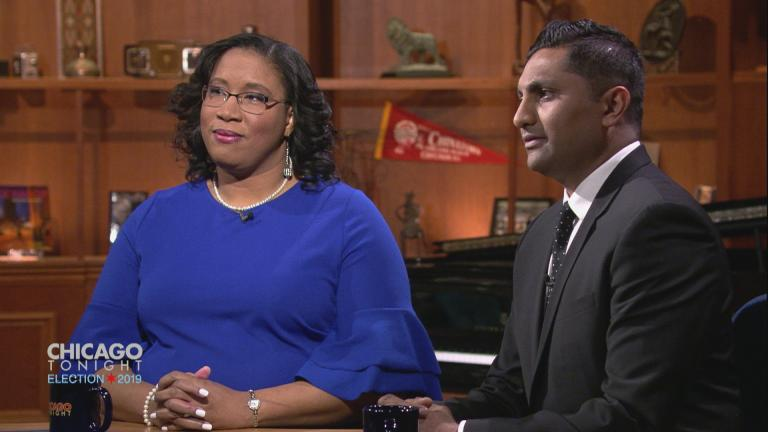 "City treasurer candidates Melissa Conyears-Ervin and Ameya Pawar participate in a ""Chicago Tonight"" forum on March 18, 2019."