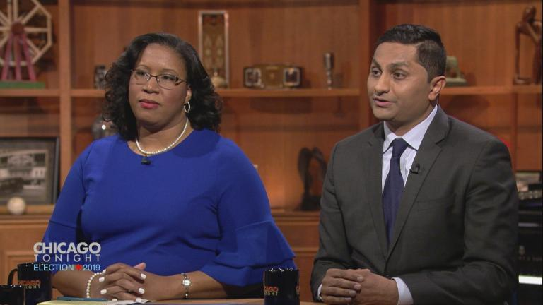 """City treasurer candidates Melissa Conyears-Ervin and Ameya Pawar participate in a """"Chicago Tonight"""" forum on Feb. 13, 2019."""