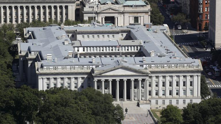 The U.S. Treasury Department building viewed from the Washington Monument, Wednesday, Sept. 18, 2019, in Washington. (AP Photo / Patrick Semansky, file)