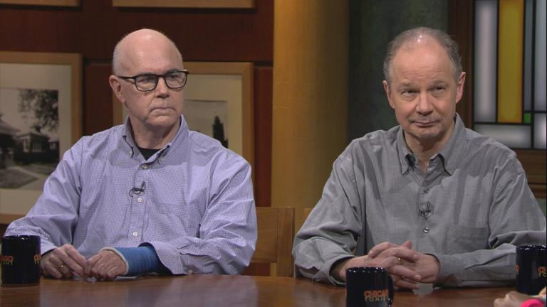 "Matt O'Connor, left, and Greg Kot appear on ""Chicago Tonight"" on Monday, Feb. 10, 2020. (WTTW News)"