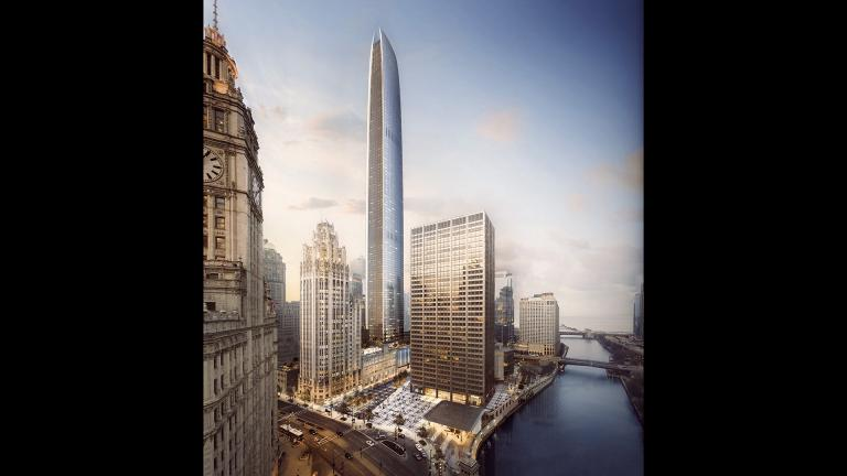 A rendering of the proposed skyscraper on the Tribune Tower site. If built, the building would be the second tallest in Chicago. (Golub & Co. / CIM)