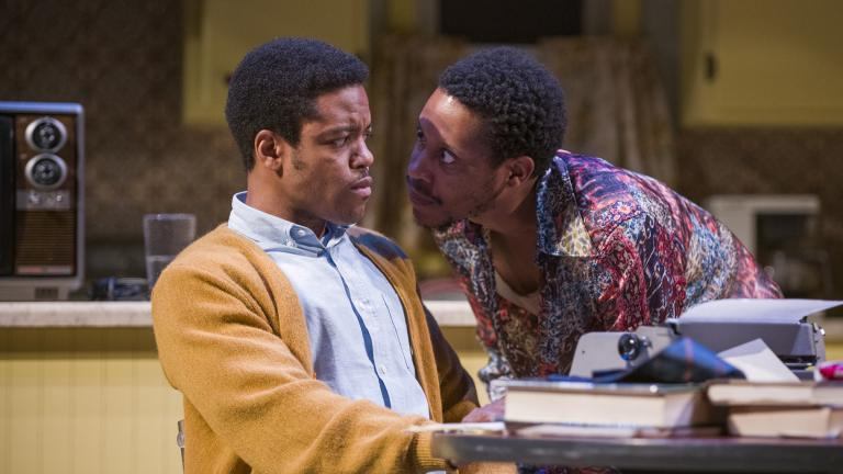 "Jon Michael Hill, left, and Namir Smallwood in Steppenwolf's production of ""True West"" by Sam Shepard. (Photo by Michael Brosilow)"