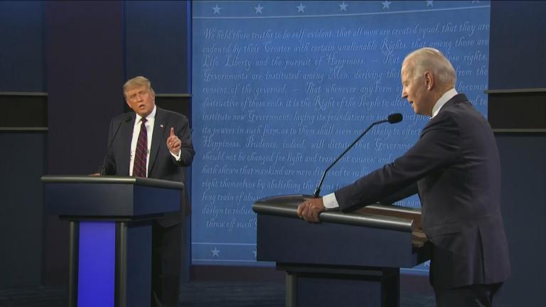 President Donald Trump, left, and former Vice President Joe Biden at the first presidential debate Tuesday, Sept. 29, 2020, at Case Western University and Cleveland Clinic, in Cleveland, Ohio. (WTTW News via CNN)