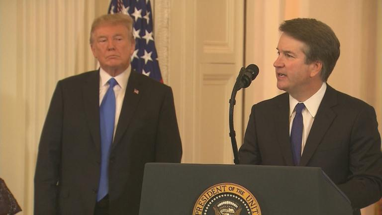 Supreme Court nominee Brett Kavanaugh speaks Monday, July 9, 2018 as President Donald Trump looks on.
