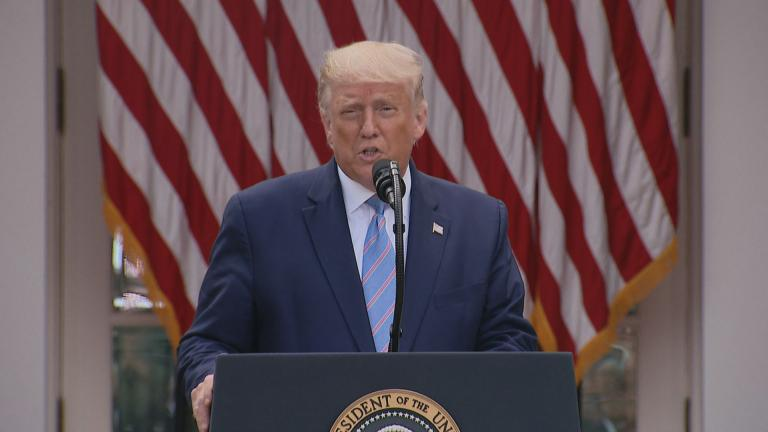 President Donald Trump speaks about coronavirus testing on Monday, Sept. 28, 2020. (WTTW News via CNN)