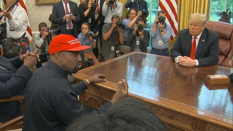 Kanye West meets with President Donald Trump and a gaggle of reporters Thursday at the White House.