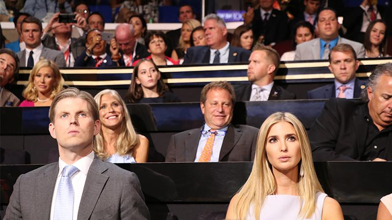 Eric and Ivanka Trump, Donald Trump's children, watch speakers on the second night of the Republican National Convention. (Evan Garcia / Chicago Tonight)