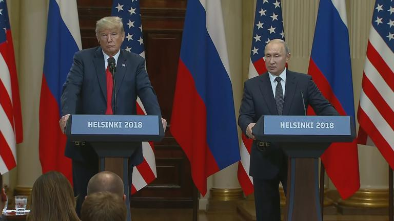 Presidents Donald Trump and Vladimir Putin meet in Helsinki, Finland, on Monday, July 16, 2018.