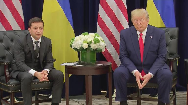 President Donald Trump meets with Ukranian President Volodymyr Zelenskiy at the United Nations on Sept. 25, 2019. (WTTW News)