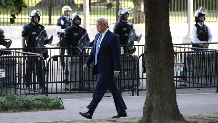 President Donald Trump walks in Lafayette Park to visit outside St. John's Church across from the White House Monday, June 1, 2020, in Washington. Part of the church was set on fire during protests on Sunday night. (AP Photo / Patrick Semansky)