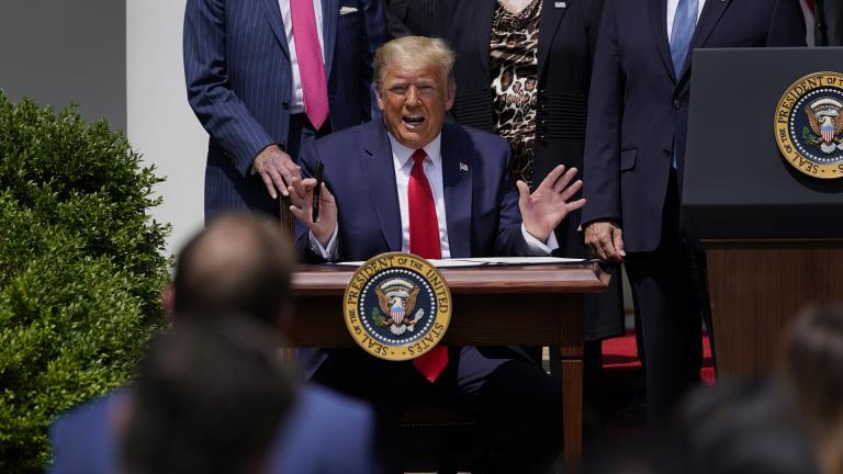 President Donald Trump speaks as he signs the Paycheck Protection Program Flexibility Act during a news conference in the Rose Garden of the White House, Friday, June 5, 2020, in Washington. (AP Photo / Evan Vucci)