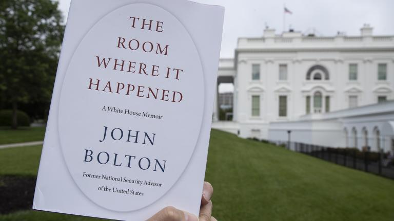 "A copy of ""The Room Where It Happened,"" by former national security adviser John Bolton, is photographed at the White House, Thursday, June 18, 2020, in Washington. (AP Photo / Alex Brandon)"