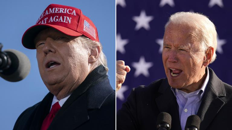 President Donald Trump, left, and Democratic presidential nominee Joe Biden speak at rallies Monday, Nov. 2, 2020 in Pennsylvania and North Carolina, respectively. (AP photos by Andrew Harnik and Evan Vucci)