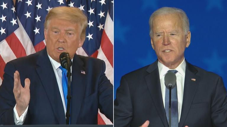 President Donald Trump, left, and President-elect Joe Biden. (WTTW News via CNN)