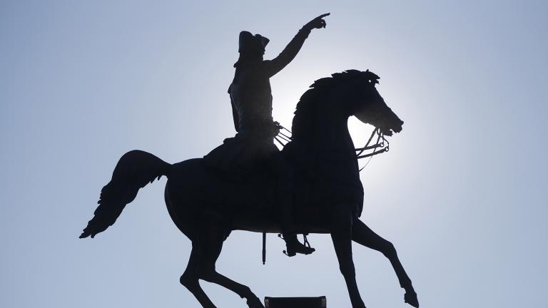 This Jan. 27, 2017 file photo shows a statue of George Washington in Richmond, Va. (AP Photo / Steve Helber)