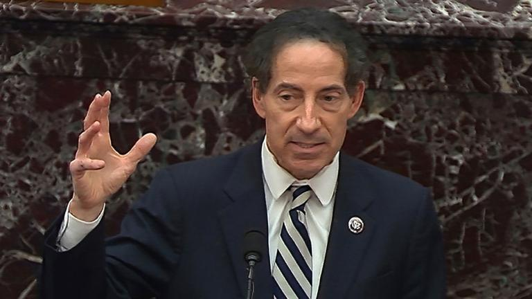 In this image from video, House impeachment manager Rep. Jamie Raskin, D-Md., speaks during the second impeachment trial of former President Donald Trump in the Senate at the U.S. Capitol in Washington, Thursday, Feb. 11, 2021. (Senate Television via AP)