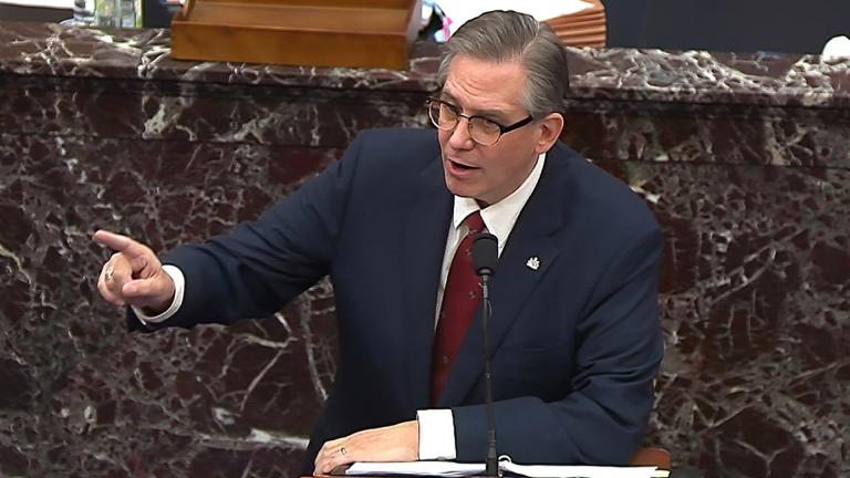 In this image from video, Bruce Castor, an attorney for former President Donald Trump, speaks during the second impeachment trial of Trump in the Senate at the U.S. Capitol in Washington, Friday, Feb. 12, 2021. (Senate Television via AP)