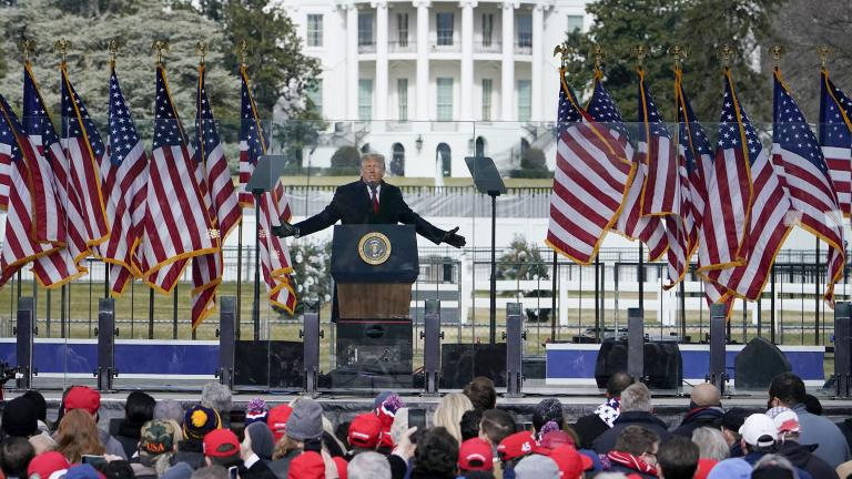 In this Jan. 6, 2021, file photo with the White House in the background, President Donald Trump speaks at a rally in Washington. (AP Photo / Jacquelyn Martin, File)