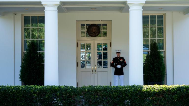 A Marine is posted outside the West Wing of the White House, signifying the President is in the Oval Office, Wednesday, Oct. 7, 2020, in Washington. (AP Photo / Evan Vucci)