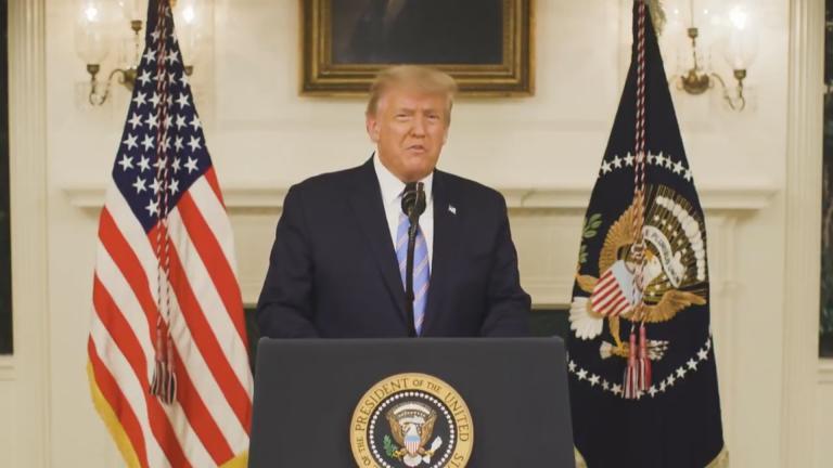 Donald Trump speaks in a recorded video Thursday, Jan. 7, 2021. (WTTW News via CNN)