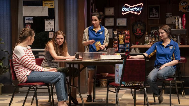 "Anne Thompson (Sharlene), Heather Chrisler (Jaycee), Hayley Burgess (Clarice) and Becca Savoy (Sam) in the world premiere of ""Twilight Bowl"" by Rebecca Gilman, directed by Erica. (Credit: Liz Lauren)"