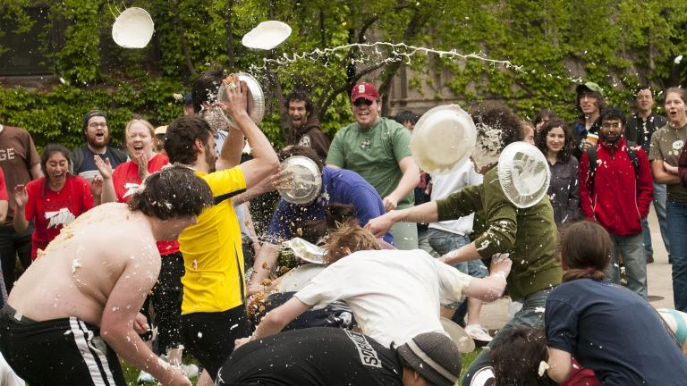 "In 2008, the list of items for the Scavenger Hunt included this entry: ""PIE FIGHT!! Bring ten cream pies and prepare to prove your superiority old-timey comedy style."" (Courtesy Leila Sales)"