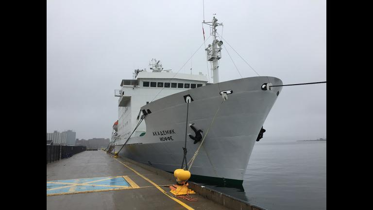 The Northwest Passage Project research vessel the Akademik loffe.
