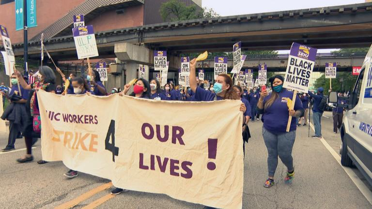 UIC hospital workers strike on Monday, Sept. 14, 2020. (WTTW News)