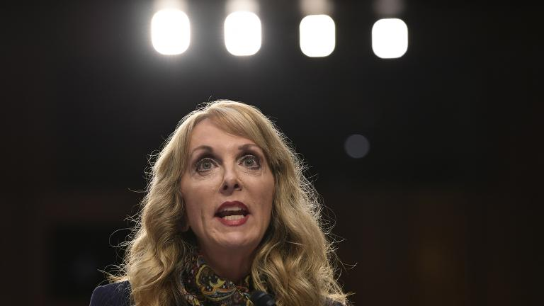 In this July 24, 2018, file photo, Kerry Perry, president of USA Gymnastics, speaks during a Senate Commerce subcommittee hearing in Washington. (AP Photo / Susan Walsh, File)