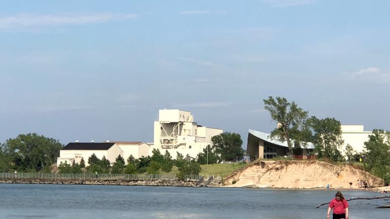 U.S. Steel Midwest Plant on the shore of Lake Michigan, with the Indiana Dunes Portage Lakefront and Riverwalk Trail in the foreground, in 2019. (Patty Wetli / WTTW News)
