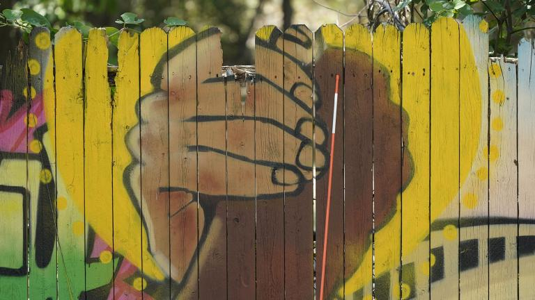 A mural on a fence is displayed at United Fort Worth, a grassroots community organization in Fort Worth, Texas, Tuesday, Aug. 10, 2021. (AP Photo / LM Otero)