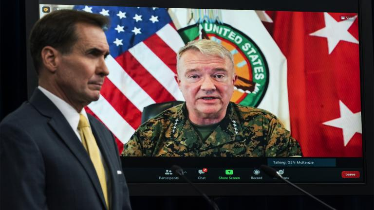 In this Aug. 30, 2021, file photo Gen. Frank McKenzie, Commander of U.S. Central Command, appears on screen as he speaks from MacDill Air Force Base, in Tampa, Fla., as he speaks about Afghanistan during a virtual briefing moderated by Pentagon spokesman John Kirby at the Pentagon in Washington. (AP Photo / Manuel Balce Ceneta, File)