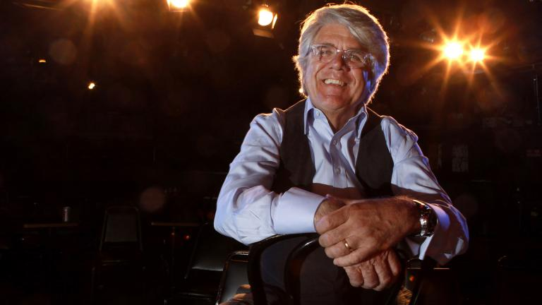 In this Nov. 18, 2009, file photo, co-chairman and chief executive officer Andrew Alexander sits onstage at The Second City in Chicago. Alexander said Friday, June 5, 2020, that he is stepping down after a former performer leveled accusations of racism against the comedy institution. (AP Photo / Charles Rex Arbogast, File)