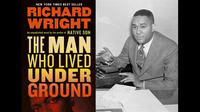 """A photo of the author Richard Wright, right, and the book jacket for his novel """"The Man Who Lived Underground."""""""