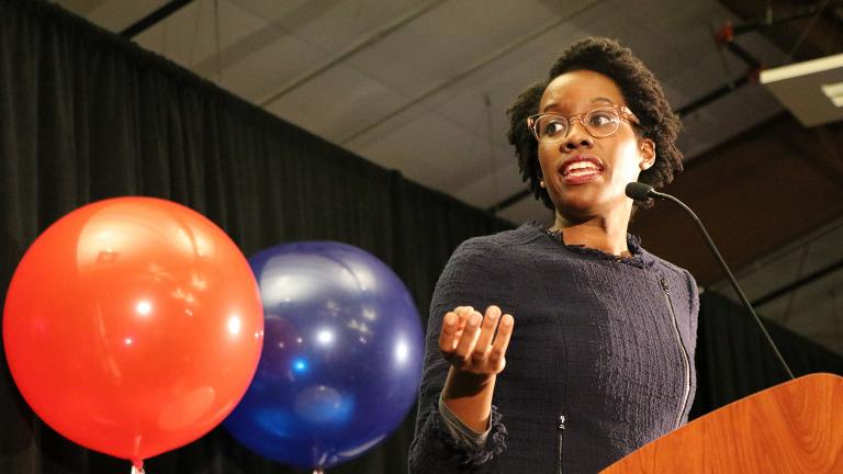 Lauren Underwood gives her victory speech after winning the election for Illinois' 14th Congressional District on Nov. 6, 2018.  (Evan Garcia / Chicago Tonight)