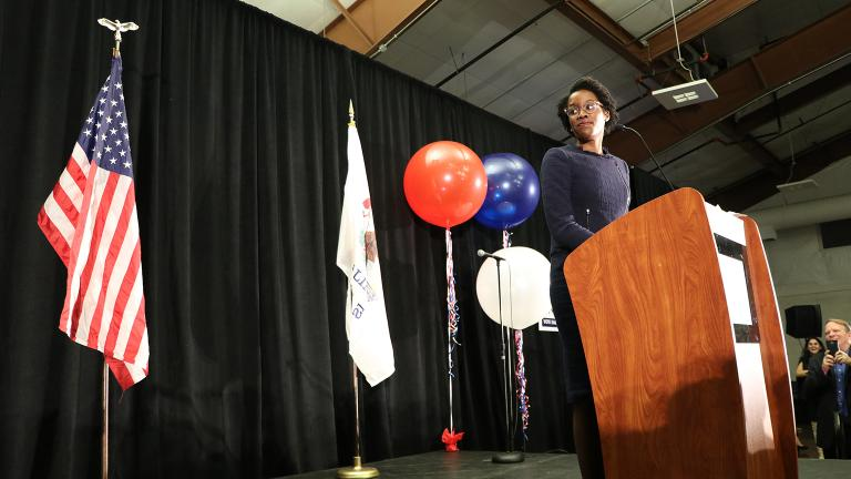 Lauren Underwood gives her victory speech Tuesday after winning the election for Illinois' 14th Congressional District.  (Evan Garcia / Chicago Tonight)