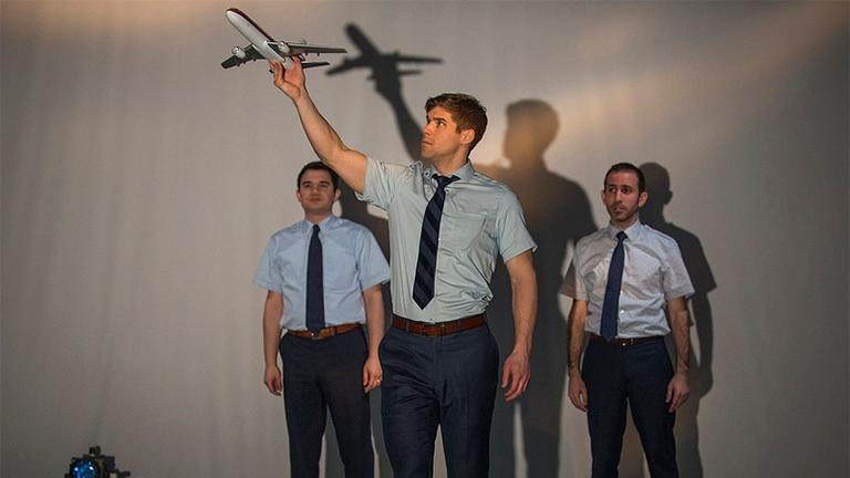 """Rudy Galvan (left to right), James Doherty and Johnny Arena perform in """"United Flight 232.""""(Michael Brosilow)"""